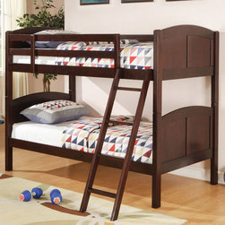 Coaster - Parker Twin Bunk Bed - Designed to save space, this twin over twin bunk bed is a perfect solution for your children's bedroom. Constructed of solid pine in a rich cappuccino finish, this piece offers durability and a relaxed style. Full length guard rails provide safety, while the included ladder allows for easy access to the top bunk. Add the optional under bed storage unit for additional storage space in your youth room.