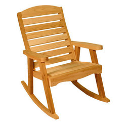 Red Cedar Rocking Chair - Rock away the hours in our deck style rocking chair.  Made of Western Red Cedar and constructed with mortise and tenon joints, you won't find a better made rocking chair.  Use this in combination with our Cedar Deck Chair and