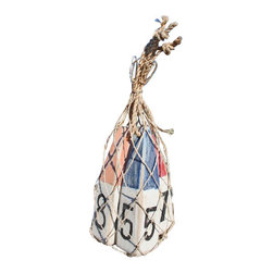Nautical Wood Miniature Buoys- Orange/White8, Red/White7, Blue/White5 - Set of three miniature buoys strung with a jute cord and packaged in a genuine fish net bag.