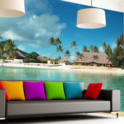 Dezign With a Z - Wall murals - A great alternative to wall paper, this wall mural is self-adhesive and easy to install. It is also completely removable and repositionable. In addition to that it features a gorgeous high resolution photo of a tropical island: calm turquoise ocean waters, a blue sky with scattered clouds, palm trees and white sand form the perfect picture to decorate your space.