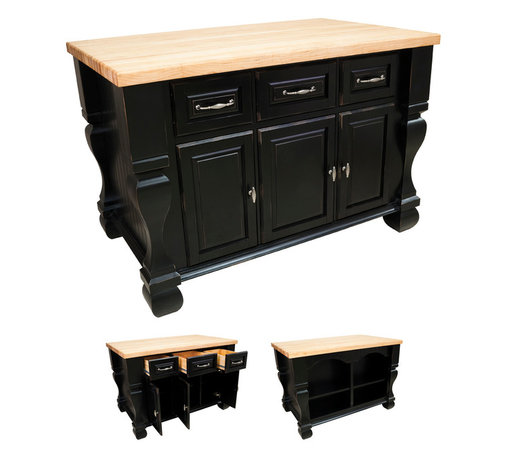 """Hardware Resources - Lyn Design Kitchen Island - Kitchen Island by Lyn Design. Featuring full extension slides on drawers, soft-close European hinges, and fully adjustable shelves. 1-3/4"""" Maple Butcher Block Top Sold Separately (ISL01-TOP). DIMENSIONS: 53-1/2"""" x 33-3/4"""" x 35-1/2"""" FINISH: DBK Distressed Black with 718BNMDL hardware."""