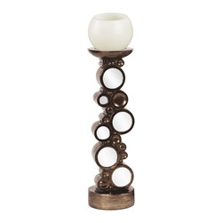 Bronze with Mirrored Accents Candleholder - Bronze with Mirrored Accents Candleholder.