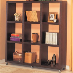 Coaster - Cube Bookcase w Casters - Contemporary style. Nine shelves. Clean lines. Six casters at base for mobility. Deep cappuccino finish. 66 in. W x 13.75 in. D x 69.25 in. H. WarrantyThis beautiful contemporary cube bookcase will quickly jazz up your wall in a living room, family room, or hallway. Great for books, framed photos, storage baskets and you favorite decorative accent items. Create a cool style in your home with this beautiful wall shelf unit.