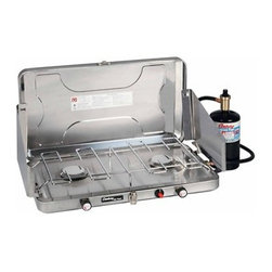"Kay Home Products - Matchless 24k BTU 2 Burner Stainless Steel Stove with Tray - Pressure regulated for consistent performance, this stove boasts 2 large 3 3/8"" burners that emit 12,000 BTUs each as well as a push-button Piezo igniter for matchless lighting. It has a stainless steel drip tray for easy cleanup and comes with a 24"" hose and regulator assembly. It's designed for use with a 16.4-oz. propane cylinder (not included) and easily converts to bulk cylinder operation.Features:"