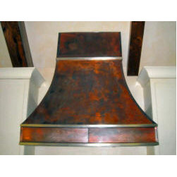 Transitional Style Vent Hoods - Copper, weathered with Nickel trim Custom Metal Vent Hood