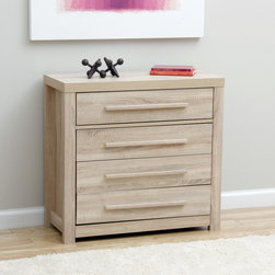 None - Julia 4-drawer Chest - This chest of drawers is composed of sturdy particle board and MDF. With a practical, yet pleasing rectangular design, the chest contains four drawers for convenient storage.