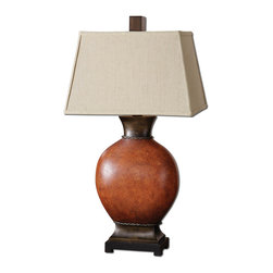 Uttermost - Uttermost Suri Brunished Red Table Lamp 26517 - Heavily crackled ceramic body finished in a burnished dark red with dark bronze details and a black foot. The rectangle shade is an oatmeal linen fabric with natural slubbing.