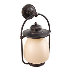 """Murray Feiss - Traditional Feiss McCoy Grecian Bronze Outdoor Wall Lantern - Add a retro-transitional look to your exterior spaces with this metal and cream glass outdoor wall lantern. The frame features a deep Grecian Bronze finish that stands boldly against the light glass. Inspired by classic lantern designs updated for today. From the Murray Feiss outdoor lighting collection. Comforting style outdoor wall light. Metal and glass construction. Grecian Bronze finish. Beautiful cream glass. From Murray Feiss. One maximum 72 watt bulb (not included). 12"""" wide. 20 1/2"""" high. Extends 10 1/4"""". Round back plate is 5 1/2"""" wide.  Comforting style outdoor wall light.  Metal and glass construction.  Grecian Bronze finish.  Beautiful cream glass.  From Feiss.  One maximum 72 watt bulb (not included).  12"""" wide.  20 1/2"""" high.  Extends 10 1/4"""".  Round back plate is 5 1/2"""" wide."""