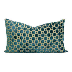 Domusworks - Decorative Pillow Cover, Teal & Tan, 22 X 12 - Add a splash of color, pattern to complement your home with new pillows.