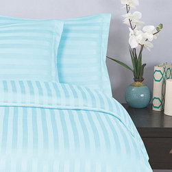 Elegance Linen - Aqua Damask Stripe Duvet Set - Make the bed with this soft microfiber set. Each sleek, striped piece resists fading and wrinkling.   Includes duvet cover and two pillowcases (twin sizes include one pillowcase) 100% polyester Machine wash Imported