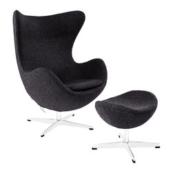 Modway - Glove Lounge Chair and Ottoman Set EEI-1258 Dark Gray - The Glove Chair provides evidence of movement in design to adapt more organic forms into our living spaces. Designed to remind us of the natural world, this chair provides sheer comfort and relaxation. Get back to nature with the Glove Chair.
