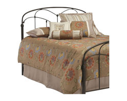 Fashion Bed - Fashion Bed Pomona Metal Panel Headboard in Hazelnut-King - Fashion Bed - Headboards - B12756 - This headboard fuses together unusual design elements to create a charming silhouette. It incorporates arching cross rails that are joined by quiet floral castings to the long spindles. Lovely uncommon fluted posts anchor a straight bottom cross rail and a slightly curved top rail. The hazelnut finish adds a warm tone to the bedroom. The Pomona Headboard named for the Roman goddess of fruit trees gardens and orchards is a striking focal point for any bedroom in the home.