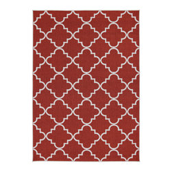 None - Fancy Trellis Spice Rug (5' x 7') - Simple and refined this lattice print rug in spice is an excellent way to add charm and elegance to your decor.  This rug is extremely durable and vibrant.