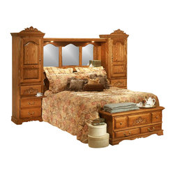 Bebe Furniture - Pier Wall Carving Detail Bedroom Set (King) - Choose size: KingMade in USA. Includes: 2 Towers, Headboard and Mirror & Bridge pack. Bench and Armoire not included. Beautiful hand beveled arched mirrors. Aromatic Cedar lined compartments. Ample storage space with adjustable shelves. Secret hidden compartments for storage of valuables and jewelry. Brass utility power unit for cord and telephone plug in. Different headboard design can be selected. Queen Bed: 83 in. W x 112 in. L x 18 in. H (480 lbs.). King Bed: 83 in. W x 123 in. L x 18 in. H