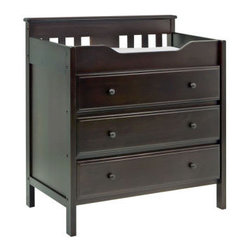 Newhaven 3-Drawer Changer in Dark Chocolate - This solid one-piece changing table and dresser combines two needs into one, allowing more space in your nursery. With three drawers and a well-bordered changing station, this quality changing table is constructed of solid pine and comes in a dreamy dark chocolate finish for integrating beautifully into any baby space.