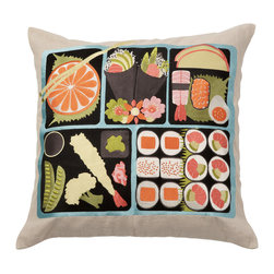 Emma at Home - Bento Pillow - Sometimes a sofa needs a hit of humor and this little bento box is serving it up, big time. It's refreshing to see home design that doesn't take itself too seriously. Have some fun with a bite of sushi on a pillow.