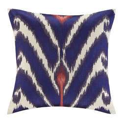 Echo - Echo 'Cozumel' 16-inch Square Ikat Throw Pillow - Enliven your bedroom or living area with the trendy color from the Cozumel throw pillow. Decorated with a traditional ikat pattern,this contemporary square decorative pillow features a navy blue,ivory and coral pattern.