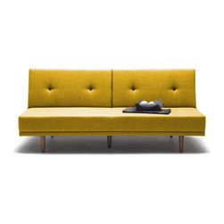 NYFU - Limber Three Seater Sofa Bed - Mustard - 90�, 135� and 180� all in one! Use this flexible sofa however your back desires.