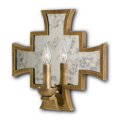 Currey & Co - Mercury Wall Sconce - With a regal silhouette that might be at home on a coat of arms, this resplendent piece shines with refined sophistication. Light reflects from the Mercury Wall Sconce's Antique Mirror surface, trimmed and accented in a signature Antique Brass finish. The Shannon Koszyk Collection.