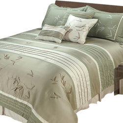 "Jenny George Designs - Sansai 7 Pc Pieced Comforter Set With Pleating And Embroidery - Full/Queen Size - Set Includes 1 Comforter, 2 Standard Sham, 1 Bedskirt, 3  Pillows. Comforter Dimensions: 90"" x 92"". Standard Sham Dimensions: 20"" x 26"". Bedskirt Dimensions: 60"" x 80"" x 15"".  Pillow Dimensions: 18"" x 18"", 12"" x 16"". 100% Polyester. Dry Clean."