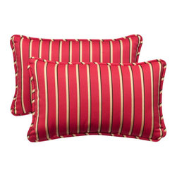 Pillow Perfect - Outdoor Red/Gold Striped Sunbrella Fabric Toss Pillow Rectangle , Set of Two - - Red/Gold  - 100% Acrylic  - 100% Virgin Recycled Polyester Fill  - Self-Cord Edge  - Fade Resistant, Mildew Resistant, UV Protection, Water Resistant, Weather Resistant  - Made in USA Pillow Perfect - 391663