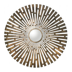 "Uttermost - Tremeca Brass Starburst Mirror - Hand forged metal finished in plated, brushed brass with light antiquing and a center convex mirror. Frame Dimensions: 44.5""W X 44.5""H X 1""D; Mirror Dimensions: 9""W X 9""H; Finish: Brushed Brass; Material: Metal; Beveled: No; Shape: Round; Weight: 21 lbs; Included: Brackets, Ready to Hang"