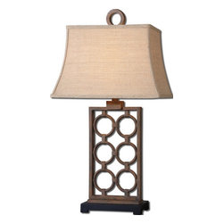 Uttermost - Uttermost 27453  Dardenne Bronze Table Lamp - Hand forged metal finished in a rust bronze with a matte black foot. the rectangle bell shade is a burlap linen fabric with natural slubbing.