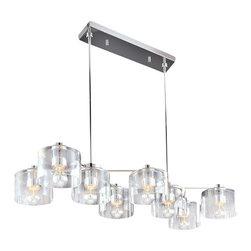 Sonneman - Sonneman 4808 Eight Light Transparent Rectangular Chandelier Transparen - *Requires 8 60w 1/2 Chrome A19 Medium Bulb (Not Included)