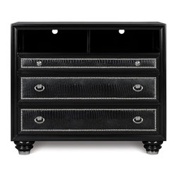 Magnussen Furniture - Onyx Wood Media Chest - Constructed from select hardwood, PVC, Metal caps and shiney chrome nails. Tinted drawers with English dovetail in the front and the back. Felt lined top drawer. Sealed for dust proofing. High Gloss Black Finish. Select Hardwoods, PVC, Shiny Chrome Nails, Metal Caps and Chrome Hardware. Black Finish. 1 Year Limited Warranty. 44 in. W x 19 in. D x 38 in. H (80 lbs)Infuse your world with high-end style through our Onyx collection. Inspired by the pages of international fashion magazines, this couture-worthy collection turns even the dullest architectural space into a showpiece of designer decor. With crocodile PVC, chrome plated nail heads, crystal hardware and sumptuous, high gloss black finish.
