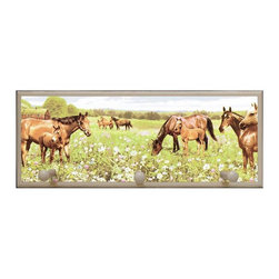illumalite Designs - Peaceful Horses Plaque w Pegs in Eggshell - Includes hanging hardware. Solid wood base. Made in USA. 20.5 in. W x 4 in. D x 8 in. H (2.13 lbs.)