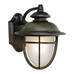 "Trans Globe Lighting - LED Miners 10"" Wall Lantern - LED fixture brings low voltage solutions to outdoor lighting. Traditional coal mine acorn lantern. Scalloped wall plate with cross bar frame and slightly curved arm wall arm. In dark rust UL Listed for Wet locations;Powder coated finish;Frosted glass dish shade;LED bulb included in a Vintage outdoor wall fixture, equals up to 60 watts of brightness;Matching outdoor collection;Bulb Type: LED;Bulb Wattage: 10W LED;No. of Lights: 6;Bulbs Included: Yes;UL Listed: WET;Warranty: Limited 1 year waranty Dimensions: 10.25"" H x 8"" W"