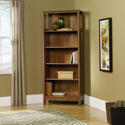 """Sauder - August Hill Library Bookcase in Oiled Oak - Inspired by antiques and heirlooms, the arts and crafts influenced design of August Hill is like finding a reassured piece from historic home, magically updated to serve today's changing needs and lifestyles. The warm Oiled Oak finish plays well with any home decor and existing woodwork, enabling August Hill to blend in or stand alone as an accent. Features: -Library bookcase. -August Hill collection. -Oiled oak finish. -Two adjustable shelves and two fixed shelves. -Enclosed back with cord access. -Assembly required. -Manufacturer provides 5 year warranty. -Overall Dimensions: 71.88"""" H x 29.25"""" W x 13.38"""" D."""