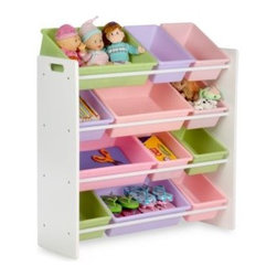 Honey-can-do - Honey-Can-Do Kids Toy Organizer and Storage Bins in Pastel - The perfect organizer for children's playrooms or bedrooms, these colorful bins make organizing fun and easy, even for small children. Effortlessly sort toys, collectibles, craft supplies and more into the sturdy plastic bins.
