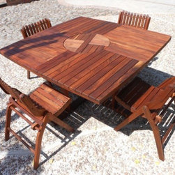 EX Design Tzalam Wood Collection - Lazy Susan Square Table -