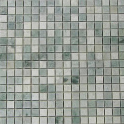 Ming Green Polished Pattern Mesh-Mounted Marble Tiles - .6 in. x .6 in. Ming Green Mesh-Mounted Square Pattern Marble Mosaic Tile is a great way to enhance your decor with a traditional aesthetic touch. This polished mosaic tile is constructed from durable, impervious marble material, comes in a smooth, unglazed finish and is suitable for installation on floors, walls and countertops in commercial and residential spaces such as bathrooms and kitchens.