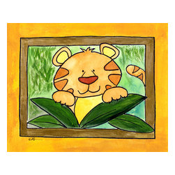 Oh How Cute Kids by Serena Bowman - Here's Looking at You - Tiger, Ready To Hang Canvas Kid's Wall Decor, 16 X 20 - Who's looking at you?  Mr. Tiger, that's who!