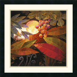 Amanti Art - Tropical Leaves and Moon II Framed Print by Jung K. An - Secret and alluring fruit dangle delicately in a hidden nook of the jungle.