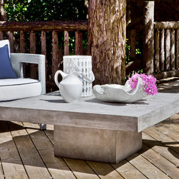 Rhone Coffee Table - Truly innovative, our Rhone Collection is a line of faux-concrete indoor/outdoor molded-cement furniture that is reinforced with hemp fibers for extra support and finished with wax for a polished, contemporary look. Incredibly durable, this weather-resistant collection is built to withstand the elements — and your guests. At 16″ high, the low-lying Rhone Coffee Table has a rectangular base and sturdy, thick, 43″ square top.