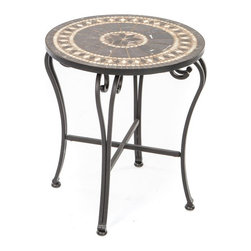 Alfresco Home - Gibraltar Mosaic Side Table Multicolor - 21-1303 - Shop for Tables from Hayneedle.com! Intricately designed with great attention to detail the Gibraltar Mosaic Side Table is the perfect finishing piece to your patio set. Contrasting warm and cool colors in varying patterns not only adds to the elegance of this side table but also makes it visually stunning. Made with expert craftsmanship the table frame is crafted from hand forged wrought iron dipped in a zinc-phosphate bath and E-coated to create a weather-resistant coating. It's finished with a powder coating to provide an extra layer of rust-resistant protection and also produces a stronger color. Every table features hand-laid mosaic tiles which showcases the expert craftsmanship of this table. Tiles are made from natural sources such as marble slate and travertine giving each design a slight color variation so no two tables are exactly the same. The top is then grouted with industrial adhesives for durability so the natural beauty of this table is maintained. A great piece for complementing your existing decor this sophisticated and well-crafted side table is both beautiful and practical giving you a place to keep books drinks plates and other items while you're enjoying your time outdoors. Additional Features Table frame is weather and rust resistant Made with rust proof stainless steel hardware Iron has a thickness of 5mm to 6mm Mosaic tiles are hand-set Tiles come from natural sources Sources include marble slate and travertine Colors will vary slightly on each table No 2 tables are exactly alike Grouted with industrial adhesives for durability Easy to clean with mild soap and water Includes 1 side table Some assembly required 1 year limited warranty About Mosaic Table TopsThe mosaic tiles are hand-set and grouted with industrial adhesives for maximum durability. What this means is if the mosaic top gets wet the grout won't dry out and crack like traditional standard grout would. The top is then finished and sealed with an industrial-grade sealant called Fluorocarbon for superior protection. Natural wear and tear of elements may lead to blistering of the silicone top seal and natural aging of the tile materials. The hand-forged wrought-iron table frame is dipped in a zinc-phosphate bath and then electrostatically coated to help create a weather-resistant coating to delay the onset of rust. Following a quality check for strength and durability iron welds are ground for aesthetic appeal. Finally a powder-coated finish is applied and baked onto the iron for stronger color and protection. As fetching as it is functional this is a piece that will never go out of style. About Alfresco HomeOffering a wide selection of fashionable products from casual furniture and garden lighting to permanent botanicals and seasonal decor Alfresco Home casual living products offer a complete line of interior and exterior living furnishings and accents. Based out of King of Prussia Penn. Alfresco Home continues to blend indoor and outdoor furniture to create a lifestyle of alfresco living inside and outside of the home. Inlaid mosaic tabletops fine hardwood furnishings artisan-inspired accents premium silk botanicals and all-weather wicker sets are just a few examples of the kind of treasures you'll find in Alfresco's specially designed collections.Please note this product does not ship to Pennsylvania.