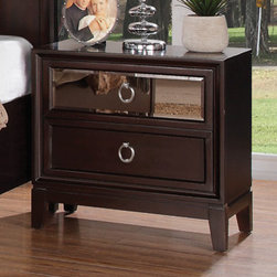 Coaster - Williams Nightstand in Merlot Finish - The unique styling of the Devine bedroom collection offers a casual contemporary look that is sure to make a bold statement in your master bedroom. The top drawer fronts on each case piece features a mirror front panel which creates an exceptional appearance and style.