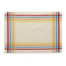 """Fiesta - Fiesta Plaid Placemat - This pretty placemat features a colorful, striped border design. Measures 13"""" x 18"""". Coordinate with the matching Fiesta napkin (sold separately). 51% cotton/49% polyester. Machine wash."""