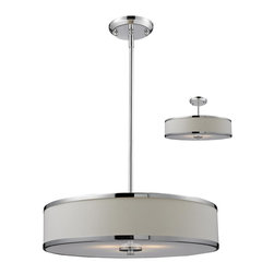 Z-Lite - Z-Lite 3 Light Convertible Pendant - A white colored shade is paired with chrome bands and hardware to create a simple, contemporary look. This pendant includes an acrylic diffuser to soften the light. For a customized look, adjustable rods are included to ensure the perfect look. This pendant also comes able to be installed as a semi flush fixture.