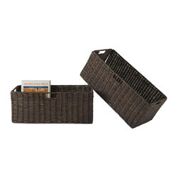 Winsome Wood - Large Corn Husk Basket - Set of 2 - Set of 2. Chocolate finish. No assembly required. Baskets opening: 22.83 in. W x 10.24 in. D x 9.06 in. H. Folded: 31.69 in. W x 2.36 D x 9.45 in. H