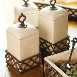 Ogee-G Ceramic Canisters - The GG Collection - Small, medium and large creamy ceramic canisters with a beaded edge and a purposeful handle sit in their own ogee inspired stands. Sold individually but marvelous as a kitchen counter set. Hand crafted for unique character. We are proud to bring you the lowest prices on The GG Collection anywhere!