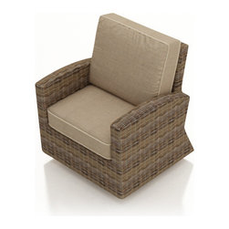 Forever Patio - Cypress Modern Patio Swivel Glider Chair, Spectrum Mushroom Cushions - The Forever Patio Cypress Modern Outdoor Wicker Swivel Glider Club Chair with Beige Sunbrella cushions (SKU FP-CYP-SG-HR-SM) features deep seating and contoured armrests, blending both style and comfort. The heather-colored resin wicker is UV-protected, and features subtly muddled tones for a varied, natural look. Each strand of this outdoor wicker is made from High-Density Polyethylene (HDPE) and is infused with its rich color and UV-inhibitors that prevent cracking, chipping and fading ordinarily aused by sunlight. This outdoor club chair is supported by thick-gauged, powder-coated aluminum frames that make it more durable than natural rattan. This club chair includes fade- and mildew-resistant Sunbrella cushions for added comfort in your outdoor space.