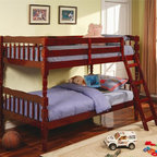 Coaster - Corinth Casual Twin Over Twin Bunk Bed - Mattresses not included. Twin over twin bunk bed. Made from durable wood. Rich cherry finish. Can be used as two separate twin beds. Built-in ladder. Requires two 9 in. thick twin mattresses. Turned detail and subtle curves. Smooth clean edges and turned detail on legs. Built-in guard rails. 80.25 in. L x 42.75 in. W x 61.38 in. H. Warranty. Bunk Bed Warning. Please read before purchase.. NOTE: ivgStores DOES NOT offer assembly on loft beds or bunk bedsWith charming casual style, this twin bunk bed is a perfect space saving solution for your child's bedroom.