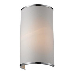 One Light Chrome White Shade Wall Light - A white colored shade is paired with chrome bands and hardware to create a simple, contemporary look. This wall sconce is a perfect addition to any modern looking area.