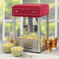 "Waring Pro - Waring Pro WPM30 Professional Popcorn Maker Multicolor - WPM30 - Shop for Popcorn Makers from Hayneedle.com! Movie night is more fun with popcorn and the Waring Pro WPM30 Professional Popcorn Maker will make you feel like you're at the theater. This 600 watt popcorn maker has a classic look and a heat lamp to keep your popcorn warm. The pivoting kettle and the door are removable to make cleaning a breeze and a removable serving tray is included for convenience. This popcorn maker pops up to 10 cups of popcorn.This professional quality popcorn maker measures 11.5L x 13.5W x 20H inches and includes a 5-year limited warranty on the motor.About WaringIf you've ever used a blender you can thank Fred Waring inventor of the ""blendor"" or as he first called it ""the disintegrating mixer."" That was back in 1936. Since then he has changed the name to blender and established Waring a global company that proudly makes professional-quality kitchen products. The company has two product divisions: Waring Pro and a commercial division. In recent years Waring Pro has broadened its market reach with everything from deep fryers and waffle makers to wine chillers and food dehydrators."