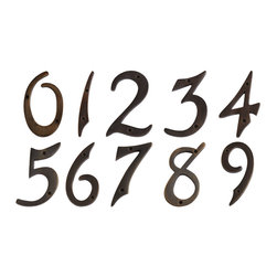 """4"""" Solid Brass House Numbers - Dark Antique Brass - Define your home's exterior with these traditional style house numbers, featuring a Dark Antique Brass finish and script-like flair."""