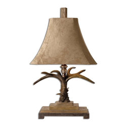 Carolyn Kinder - Carolyn Kinder Stag Horn Traditional Table Lamp X-80272 - This masculine lamp is finished in a natural brown and ivory with scratched silver and cast aluminum accents. The brushed palomino sueded shade is a rectangle bell with clipped corners.
